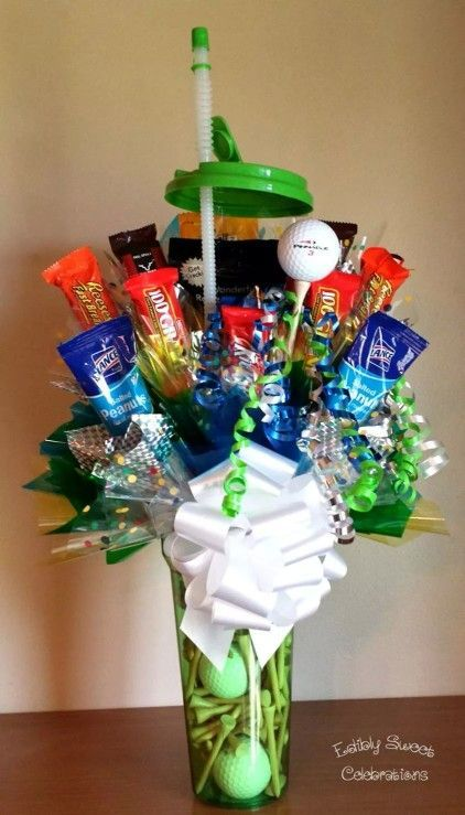 golf theme food, golf party ideas, Father's Day golf party ideas, golf candy present with golf balls and tees in a golf water bottle