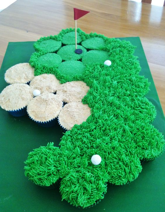 golf theme food, golf party ideas, Father's Day golf party ideas, golf course cupcake cake pull apart cupcakes