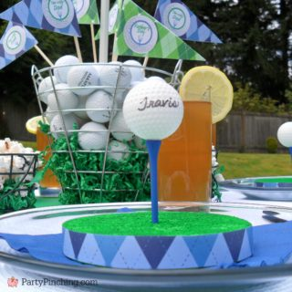golf party ideas, golf theme dinner, golf PGA party, Father's Day golf party ideas, Father's day dinner, Arnold Palmer lemonade iced tea, mini golf buckets, cute golf cupcakes, golf cupcake toppers, golf donut, golf tee placecards, golf table setting