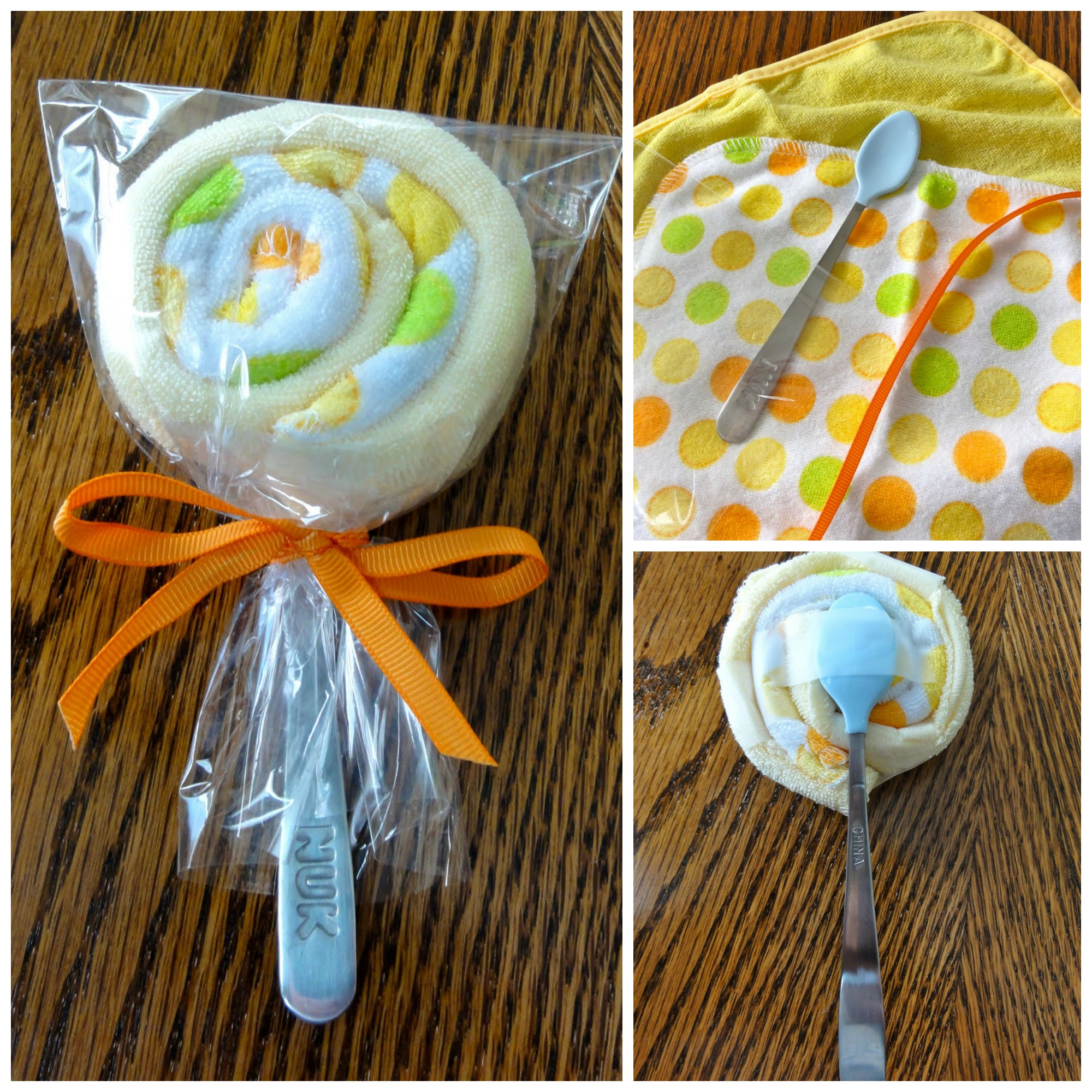 lollipop baby washcloth spoon, baby shower ideas, cute baby shower, best baby shower ideas, baby shower cake, fun games for baby shower, baby shower food