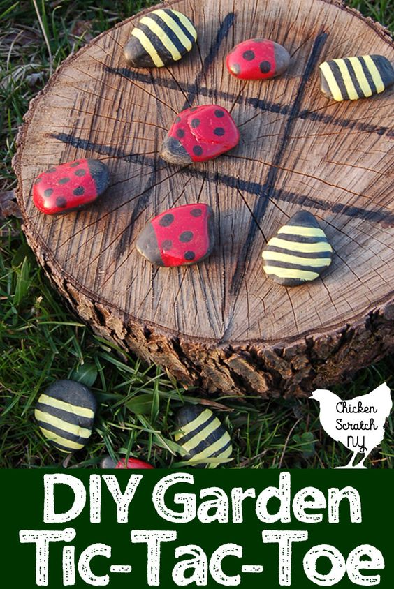 diy garden tic tac toe painted ladybug bee rocks, awesome ideas to keep kids busy summer, backyard party ideas , Best summer backyard games and outdoor activities for kids, diy summer projects for kids,fun ideas for kids summer , fun summer ideas for children, lots of summer activities for kids, outdoor games for summer