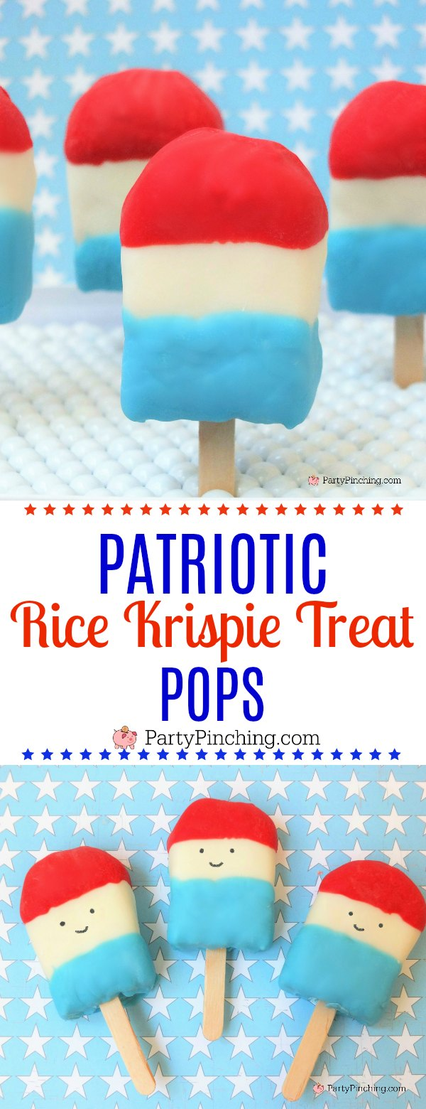 Patriotic rice krispie treat pops, red white and blue treat popsicles, rice treat 4th of July pops, cute 4th of july patriotic dessert for kids, fun food for patriotic picnic, 4th of July party ideas, smiley face patriotic pops