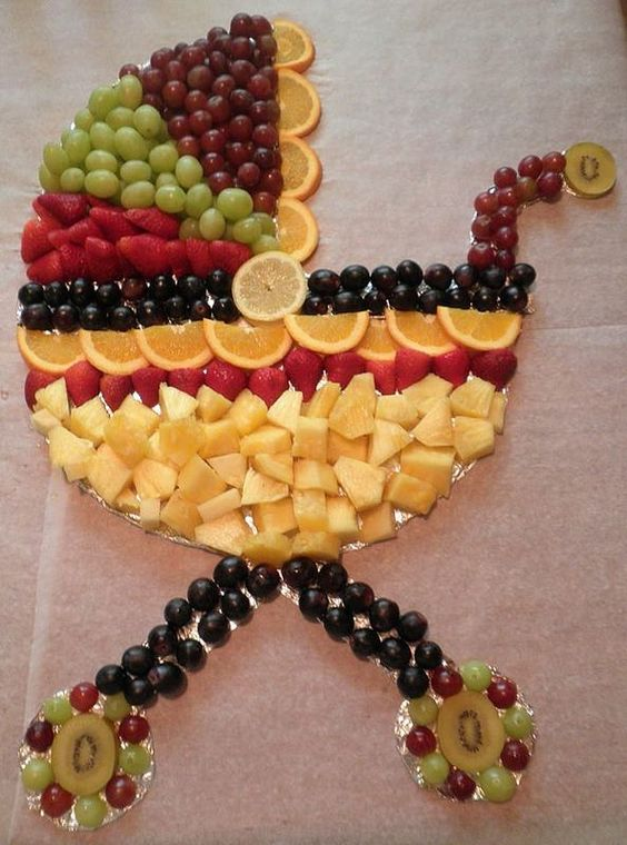 baby buggy carriage stroller fruit tray platter, baby shower ideas, cute baby shower, best baby shower ideas, baby shower cake, fun games for baby shower, baby shower food