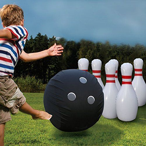 outdoor inflatable giant bowling ball and pin set for kids, awesome ideas to keep kids busy summer, backyard party ideas , Best summer backyard games and outdoor activities for kids, diy summer projects for kids,fun ideas for kids summer , fun summer ideas for children, lots of summer activities for kids, outdoor games for summer,