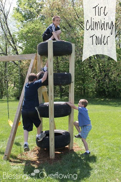 diy climbing tire tower recycle, awesome ideas to keep kids busy summer, backyard party ideas , Best summer backyard games and outdoor activities for kids, diy summer projects for kids,fun ideas for kids summer , fun summer ideas for children, lots of summer activities for kids, outdoor games for summer,
