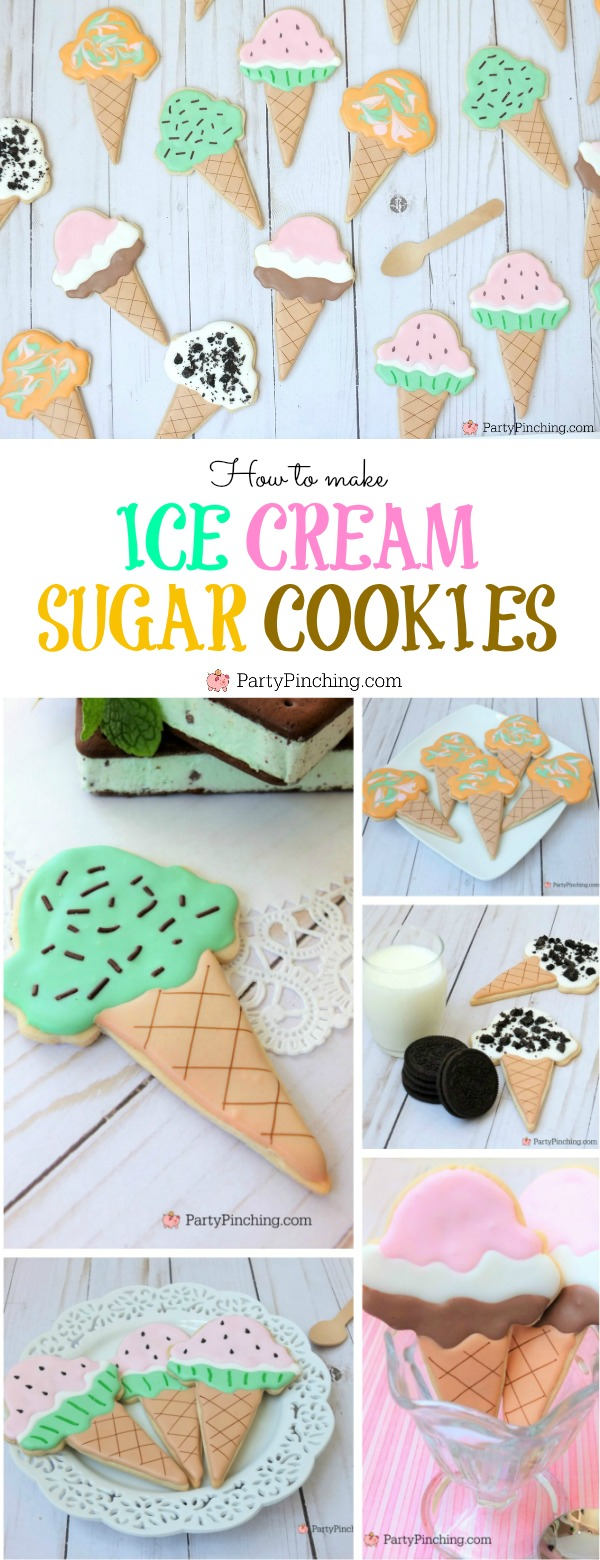 ice cream sugar cookies, ice cream decorated cookies with royal icing, mint chocolate chip ice cream cookies, cookies and cream ice cream cookies, Oreo ice cream cookies, neopolitan ice cream sugar cookies, rainbow sherbet sugar cookies, watermelon ice cream sugar cookies, cute food, cute cookies, summer cookies treats