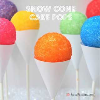 snow cone cake pops, cute summer desserts, sno cone fair cupcake cake pops, easy snow cone treat, summer kid friendly treat, summer theme party ideas, no bake cake pops,