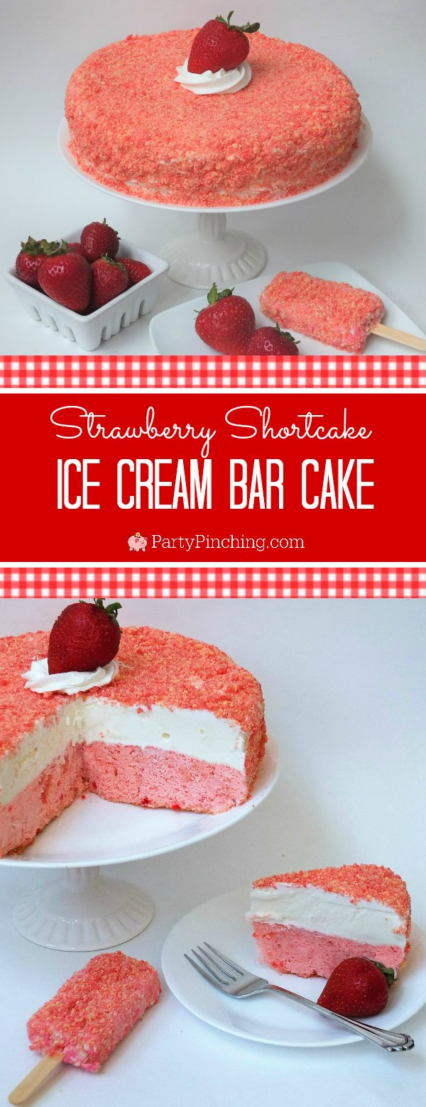 strawberry shortcake ice cream bar cake, easy strawberry cake ice cream dessert, good humor strawberry shortcake ice cream bar, summer treat strawberry ice cream, box cake ice cream cake, frozen summer treat for kids, ice cream bar cake, ice cream cake, sweet treats, fun food for kids