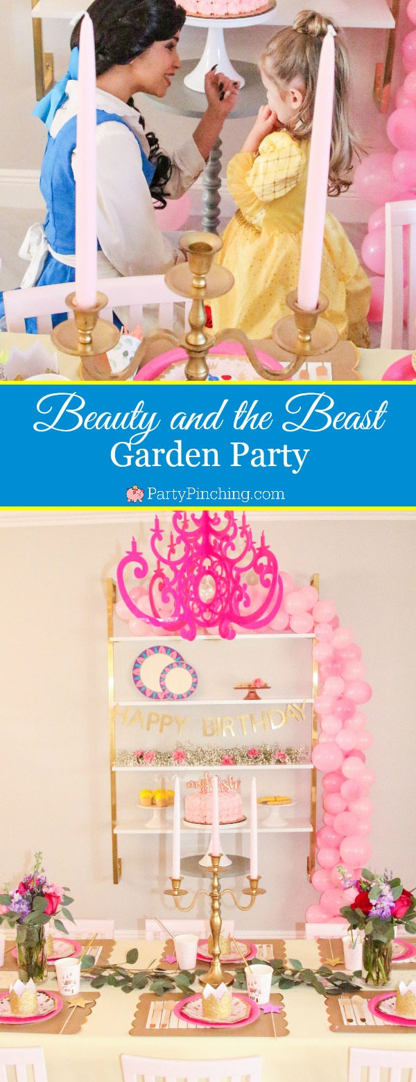 Beauty & the Beast birthday party, Disney Beauty & the Beast ideas, princess party ideas, Belle and Beast party cake cookies cupcake ideas, Belle Beauty Beast garden party, Belle Beauty Beast Ballroom party traditional, pink princess party ideas