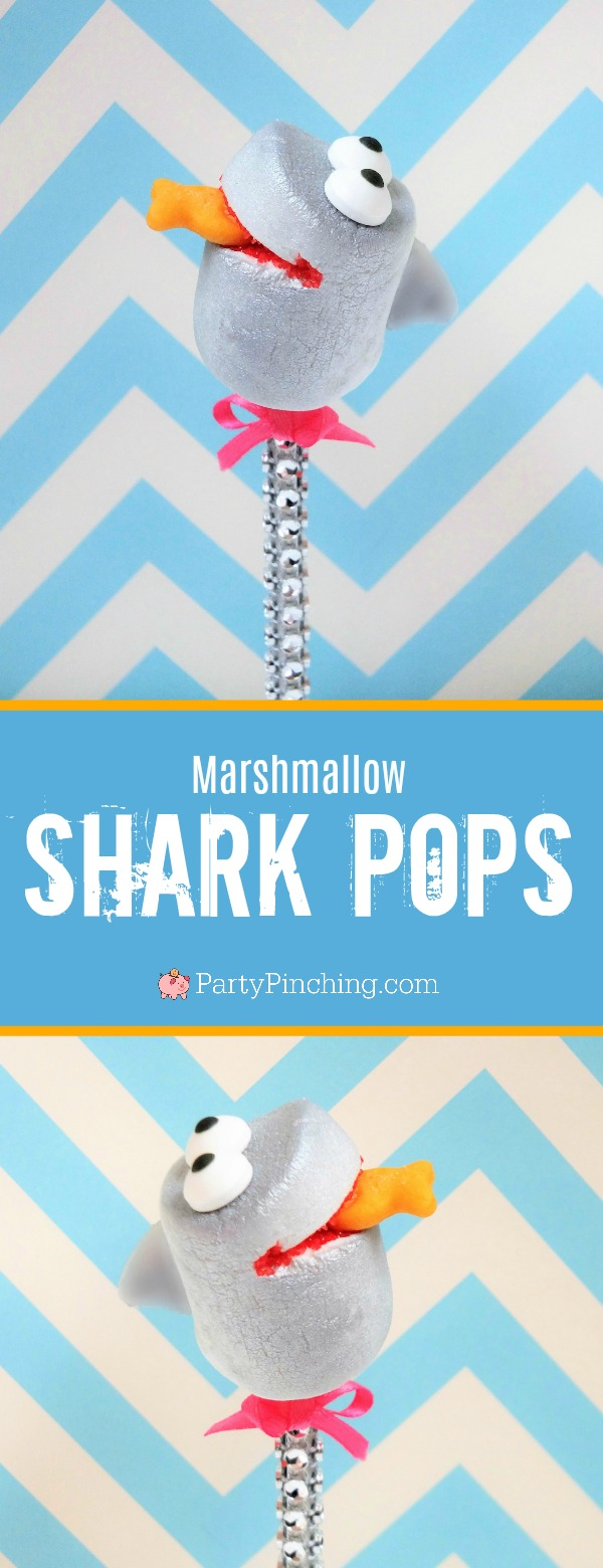 shark marshmallow pops, party with sweet treats book by Norene Cox, shark tank barbara corcoran, shark week food, beach party dessert ideas, fun summer treats for kids, easy shark cake pop ideas