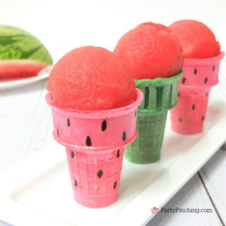 watermelon scoops, watermelon ice cream cones, fun fruit ideas, healthy snacks for kids, summertime dessert ideas, easy snacks for kids, watermelon fun, national watermelon day, watermelon party ideas