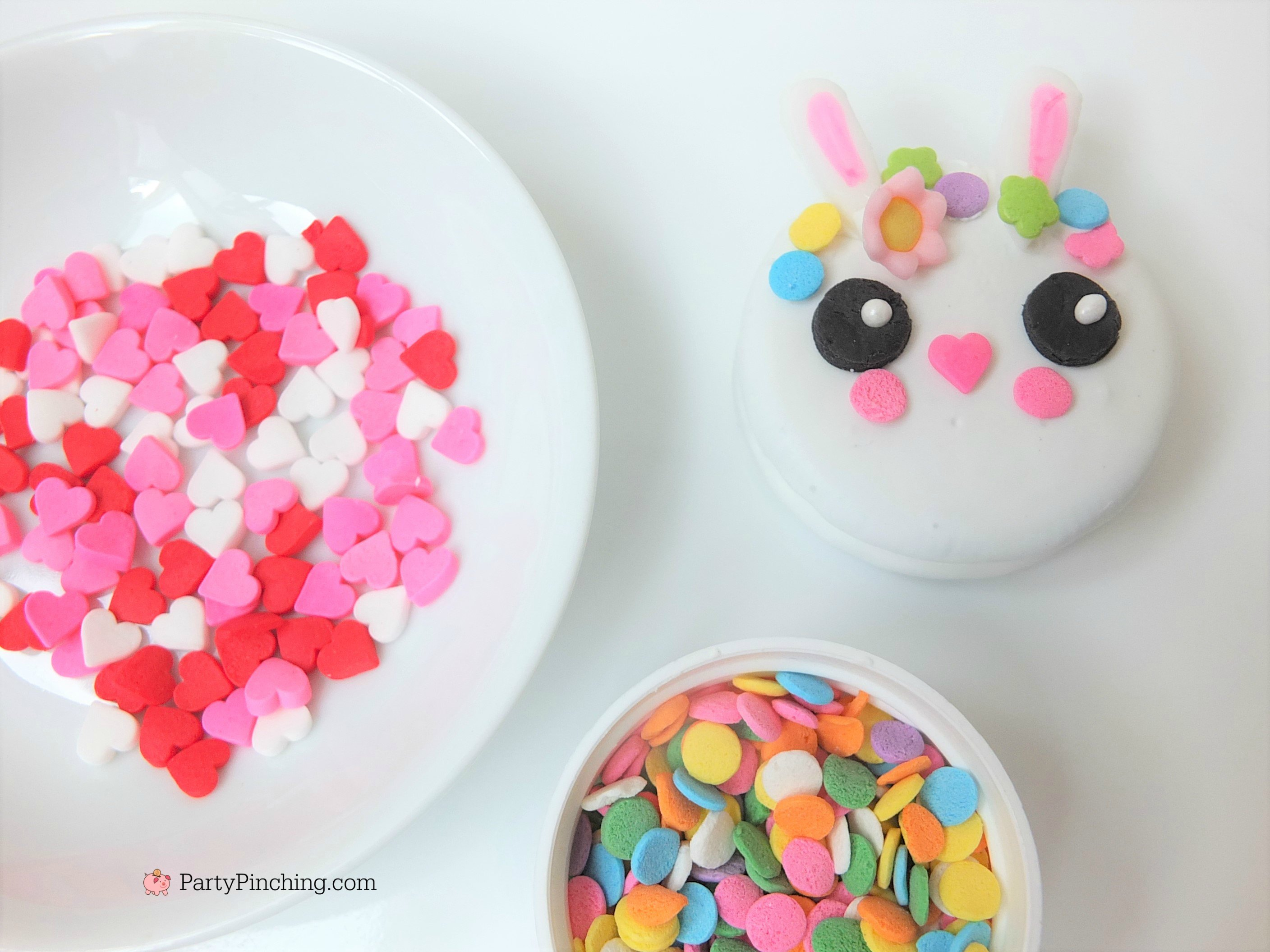 bunny oreo cookies, cute Easter bunny cookies with flower crown, fun easy to make bunny cookies, kawaii bunny animal oreos for kids