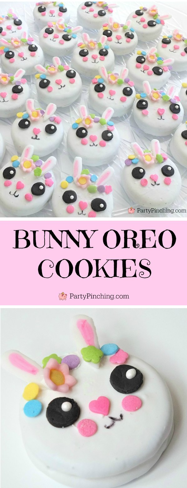 bunny oreos, bunny cookies, cute bunny cookies, bunny cake, bunny cake with flower crown, cute kawaii bunny cake, fun easy bunny cake for Easter, sweet treats for kids, adorable rabbit cake, bunny cake with floral buttercream fondant, oreo bunny cookies, candy coated easter bunny cookies flower crown