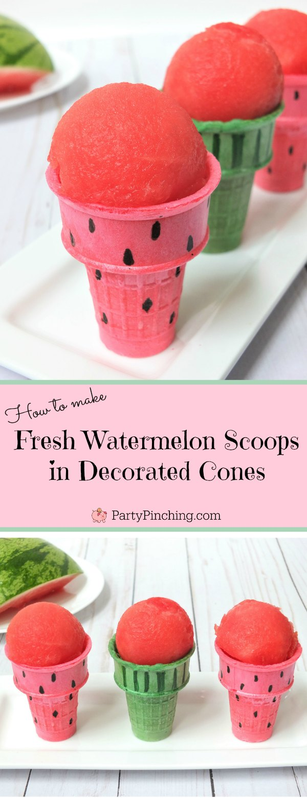 watermelon fruit scoops into ice cream cones, fun fruit snack healthy for kids, easy summertime snack for kids, watermelon ice cream scoops