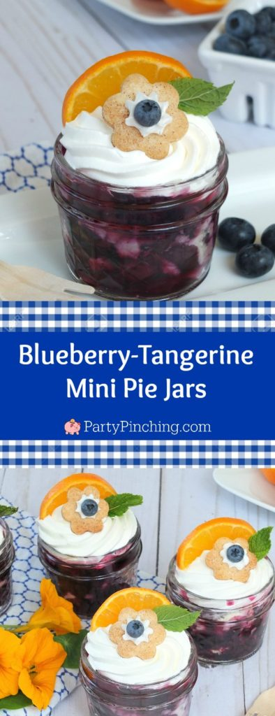 blueberry tangerine orange pie recipe, blueberry mini pie jars, easy berry pie recipe, fresh easy cute pies