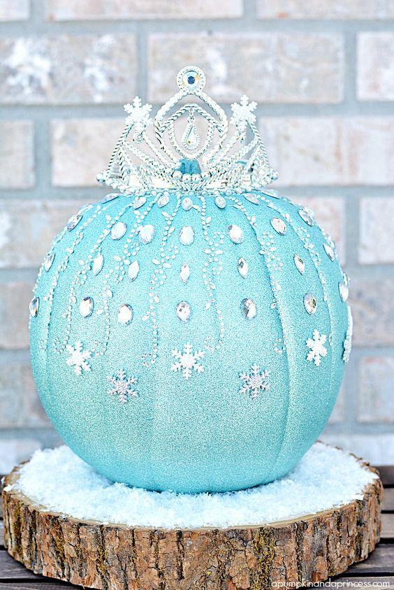 frozen princess elsa pumpkin, painted pumpkin, carved pumpkin ideas, Halloween pumpkins, cute pumpkins, pumpkin decorating ideas for kids, easy pumpkin decorating ideas, Halloween party ideas, pumpkin decorating ideas, no-carve pumpkins