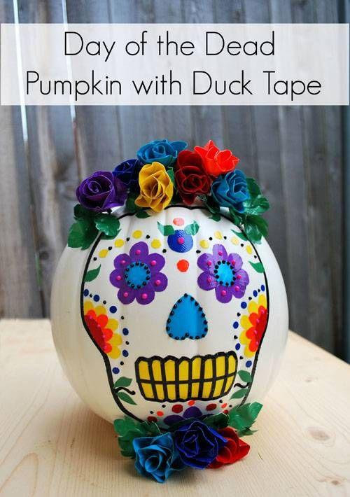 duck tape duct tape day of dead pumpkin, painted pumpkin, carved pumpkin ideas, Halloween pumpkins, cute pumpkins, pumpkin decorating ideas for kids, easy pumpkin decorating ideas, Halloween party ideas, pumpkin decorating ideas, no-carve pumpkins