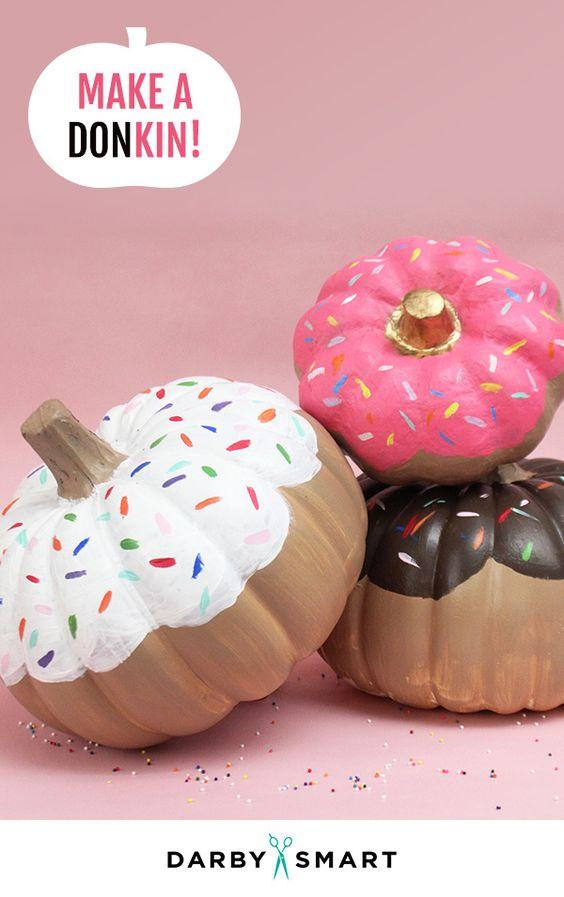 donut pumpkin, painted pumpkin, carved pumpkin ideas, Halloween pumpkins, cute pumpkins, pumpkin decorating ideas for kids, easy pumpkin decorating ideas, Halloween party ideas, pumpkin decorating ideas, no-carve pumpkins