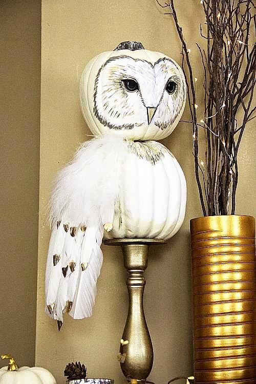 owl pumpkin, painted pumpkin, carved pumpkin ideas, Halloween pumpkins, cute pumpkins, pumpkin decorating ideas for kids, easy pumpkin decorating ideas, Halloween party ideas, pumpkin decorating ideas, no-carve pumpkins