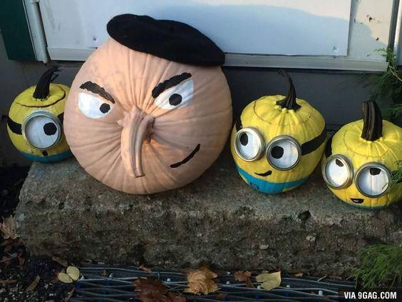 gru minion pumpkins, painted pumpkin, carved pumpkin ideas, Halloween pumpkins, cute pumpkins, pumpkin decorating ideas for kids, easy pumpkin decorating ideas, Halloween party ideas, pumpkin decorating ideas, no-carve pumpkins