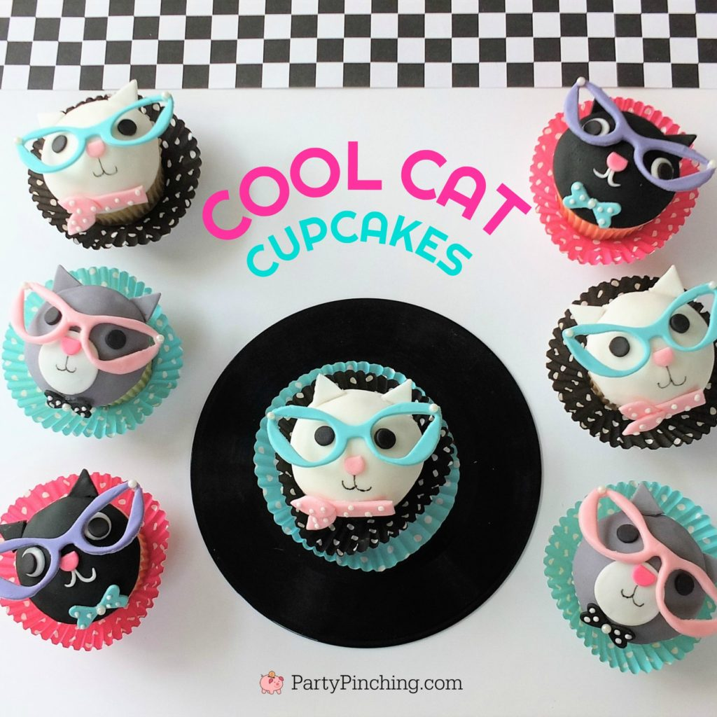 cool cat cupcakes, cat eye glasses cupcakes, fifties 50's theme party cupcake ideas, cute kitty cupcakes, sock hop soda shop cupcakes, record cupcakes, fun food for kids, cat lady cupcakes