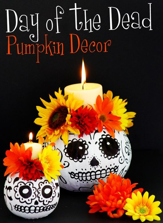 day of dead pumpkin, painted pumpkin, carved pumpkin ideas, Halloween pumpkins, cute pumpkins, pumpkin decorating ideas for kids, easy pumpkin decorating ideas, Halloween party ideas, pumpkin decorating ideas, no-carve pumpkins