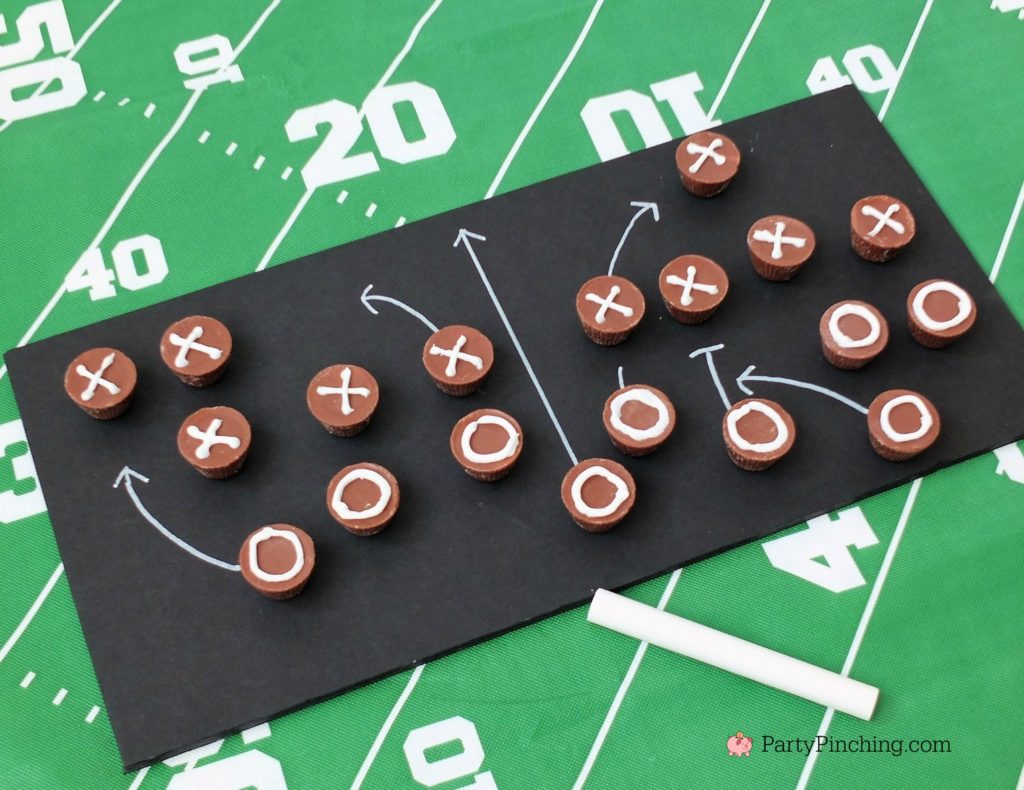 Game time treats, football dessert ideas, football centerpiece, football dessert table, football chocolate, football cupcakes, snack stadium, food football dessert stadium, fan choclolate stadium, football game play chalk peanut butter cups, referee chocolate treats, chocolate football centerpiece, life size chocolate football, party pinching, rm palmer candy