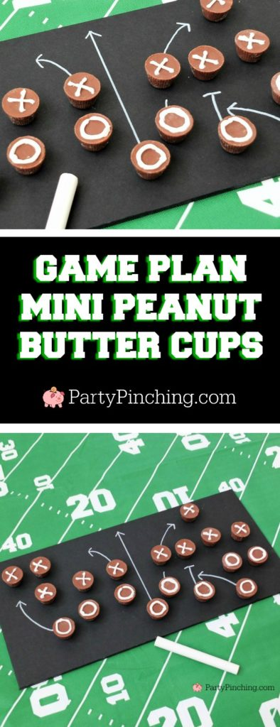 Game time treats, game plan peanut butter cups chalk, football dessert ideas, football centerpiece, football dessert table, football chocolate, football cupcakes, snack stadium, food football dessert stadium, fan choclolate stadium, football game play chalk peanut butter cups, referee chocolate treats, chocolate football centerpiece, life size chocolate football, party pinching, rm palmer candy