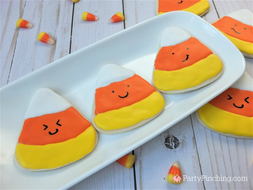 too cute to spook cookies, halloween cookies for kids, cute halloween cookies, ghost candy corn cookies, halloween party ideas