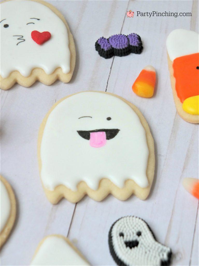 too cute to spook cookies, halloween cookies for kids, cute halloween cookies, ghost candy corn cookies, halloween party ideas