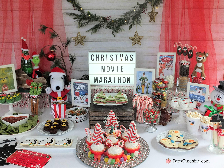 Christmas Movie Marathon night Grinch Elf Charlie Brown