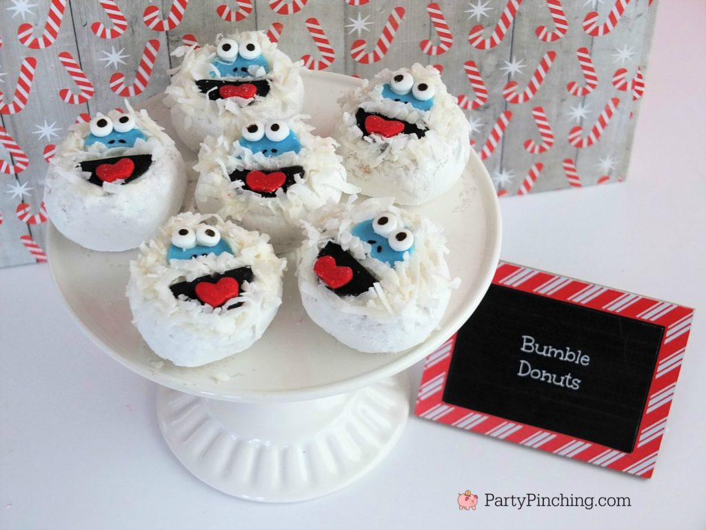 bumble abominable snowman donuts, Christmas movie marathon, Christmas movie night party ideas, Rudolph treats, Bumble Abominable snowman donuts, Charlie Brown Christmas movie party, Charlie Brownies, Snoopy snack mix, Frosty popcosrn, Frosty cheese snacks, Grinch party ideas, Buddy the Elf food, Elf beef and cheese, Elf Candy Cane Forest