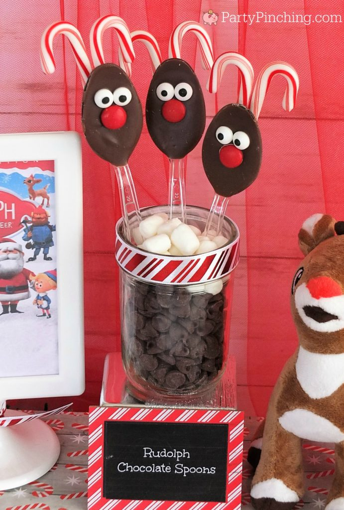 Rudloph chocolate spoons, reindeer spoons, Christmas movie marathon, Christmas movie night party ideas, Rudolph treats, Bumble Abominable snowman donuts, Charlie Brown Christmas movie party, Charlie Brownies, Snoopy snack mix, Frosty popcosrn, Frosty cheese snacks, Grinch party ideas, Buddy the Elf food, Elf beef and cheese, Elf Candy Cane Forest