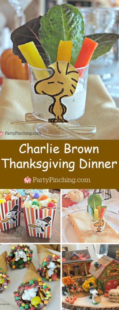 Charlie Brown Thanksgiving, Snoopy Thanksgiving, Woodstock salad appetizer Thanksgivivng table, Peanuts theme Thanksgiving dinner snack dessert ideas for kids adults, Snoopy popcorn jelly bean toast pretzel snack dinner Thanksgiving, Woodstock salad