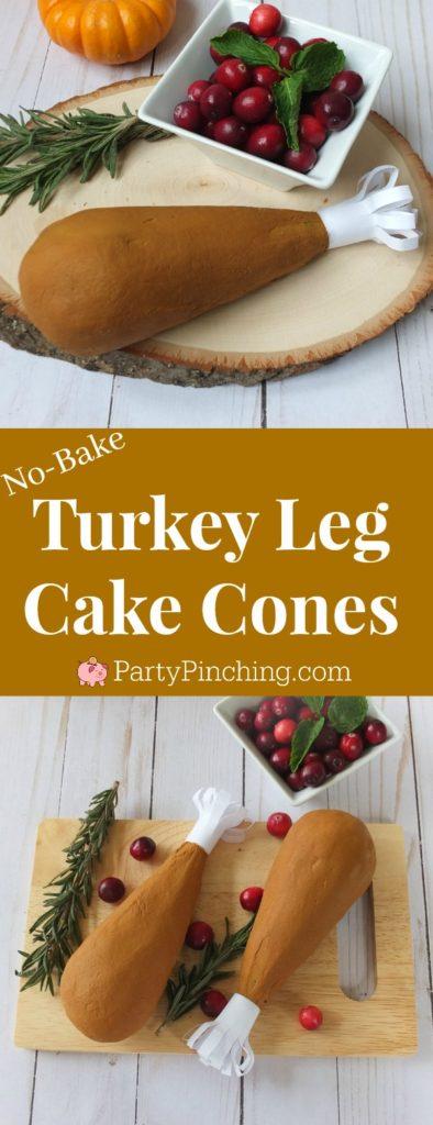 turkey leg cake cones, turkey leg cake pops, no bake cake pops, Thanksgiving dessert ideas for kids, easy Thankstiving dessert treat snack food ideas, Turkey cake, cute Thanksgiving turkey cake