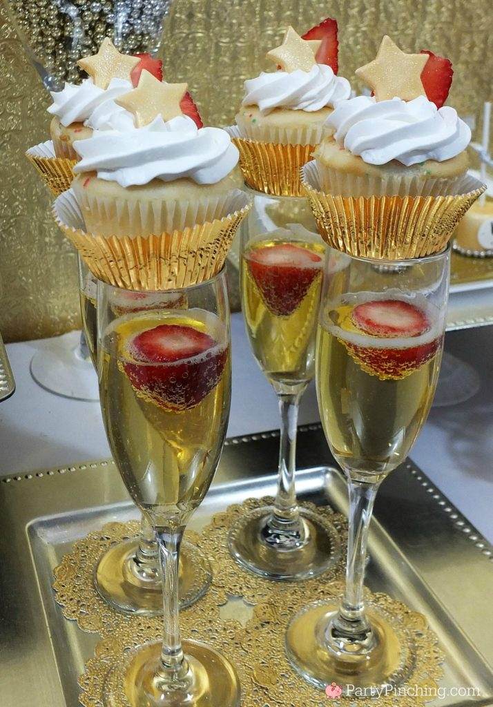 champagne cupcakes, easy to make champagne cupcakes, alcohol dessert, easy dessert ideas for new year's eve, new year's eve party ideas, bridal wedding party ideas cupcakes, cupcakes for weddings, celebration graduation cupcakes, strawberry champagne cake cupcakes