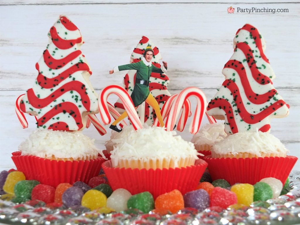 Buddy the Elf Candy Cane Forest Cupcakes Sea Swirly Twirly Gumdrops, Elf movie food treat snack ideas, Christmas holiday movie night party ideas, Christmas movie for kids food party ideas, fun food for kids, sweet treats, Christmas cupcakes, Little Debbie Christmas tree cakes, candy cane dessert cupcake ideas, coconut cupcakes for Christmas