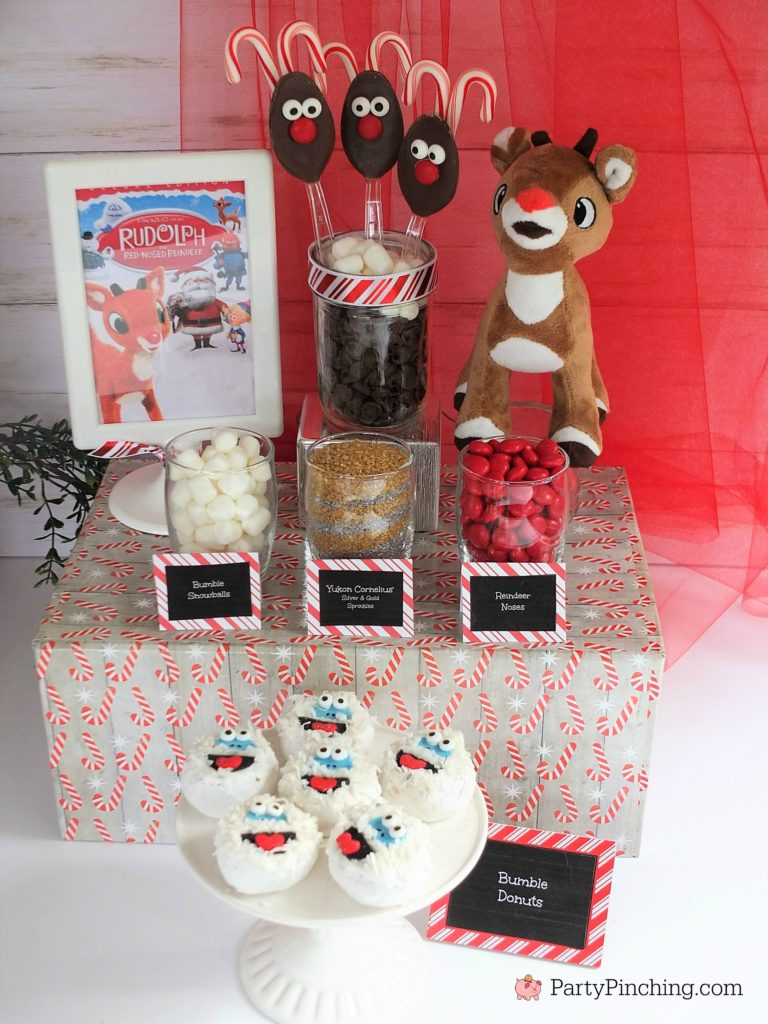 Bumble Abominable the Snowman donuts, cute bumble abominable the snowman, Rudolph the red nosed reindeer donuts, Rudolph movie night food snack treat ideas, Rudolph reindeer hot chocolate cocoa bar, fun food ideas for kids Christmas parties, bumbles bounce, Yukon cornelious.