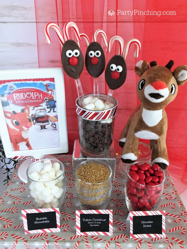 Rudolph the red-nosed reindeer chocolate spoons, Christmas movie snack ideas, Rudolph reindeer hot chocolate cocoa spoons, cute hot cocoa chocolate spoons, candy cane spoons, Christmas party ideas, holiday Christmas spoons for gift giving, Christmas reindeer food snack treat for kids
