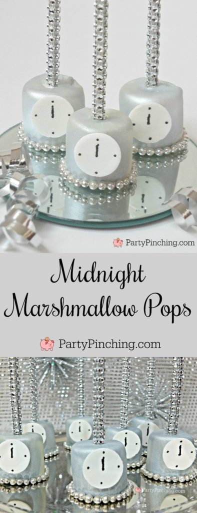 Midnight Marshmallow Pops, easy dessert ideas for New Year's Eve party, New Year's Eve party ideas, the best New Year's Eve party ideas, pretty marshmallow pops, sweet treats, party pinching