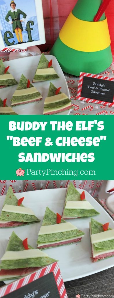 Elf movie buddy the elf's beef and cheese sandwiches, buddy elf hat snacks, Elf movie food, you smell like beef and cheese elf snack sandwich, Christmas movie night food snack treats, fun food for kids, sweet treats, partypinching.com, Will Ferrell Elf movie treat snacks food