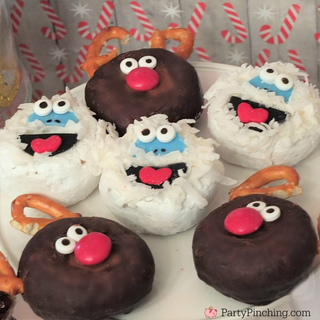 Bumble Abominable the Snowman donuts, cute bumble abominable the snowman, Rudolph the red nosed reindeer donuts, Rudolph movie night food snack treat ideas, Rudolph reindeer hot chocolate cocoa bar, fun food ideas for kids Christmas parties, bumbles bounce, Yukon cornelious, reindeer donuts