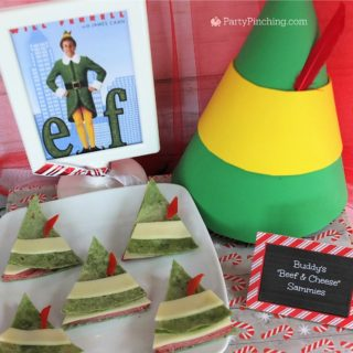 Elf movie buddy the elf beef and cheese sandwiches, buddy elf hat snacks, Elf movie food, you smell like beef and cheese elf snack sandwich, Christmas movie night food snack treats, fun food for kids, sweet treats, partypinching.com, Will Ferrell Elf movie treat snacks food, Christmas movie food party ideas