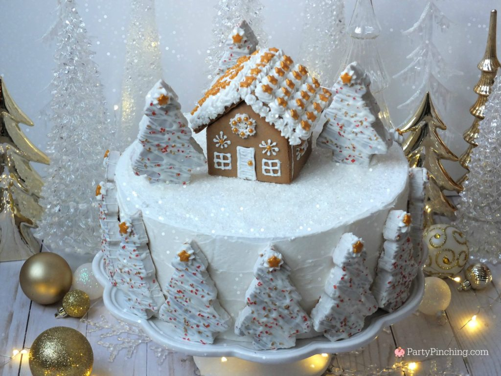 winter wonderland holiday spice cake, beautiful elegant Christmas cake, show stopping centerpiece cake for Christmas party, gingerbread house Christmas cake, mini gingerbread house Little Debbie winter tree cake, winter tree cake, snow scene cake, winter snowy cake, sparkling snow cake, white and gold cake, easy simple to make cake fast to create