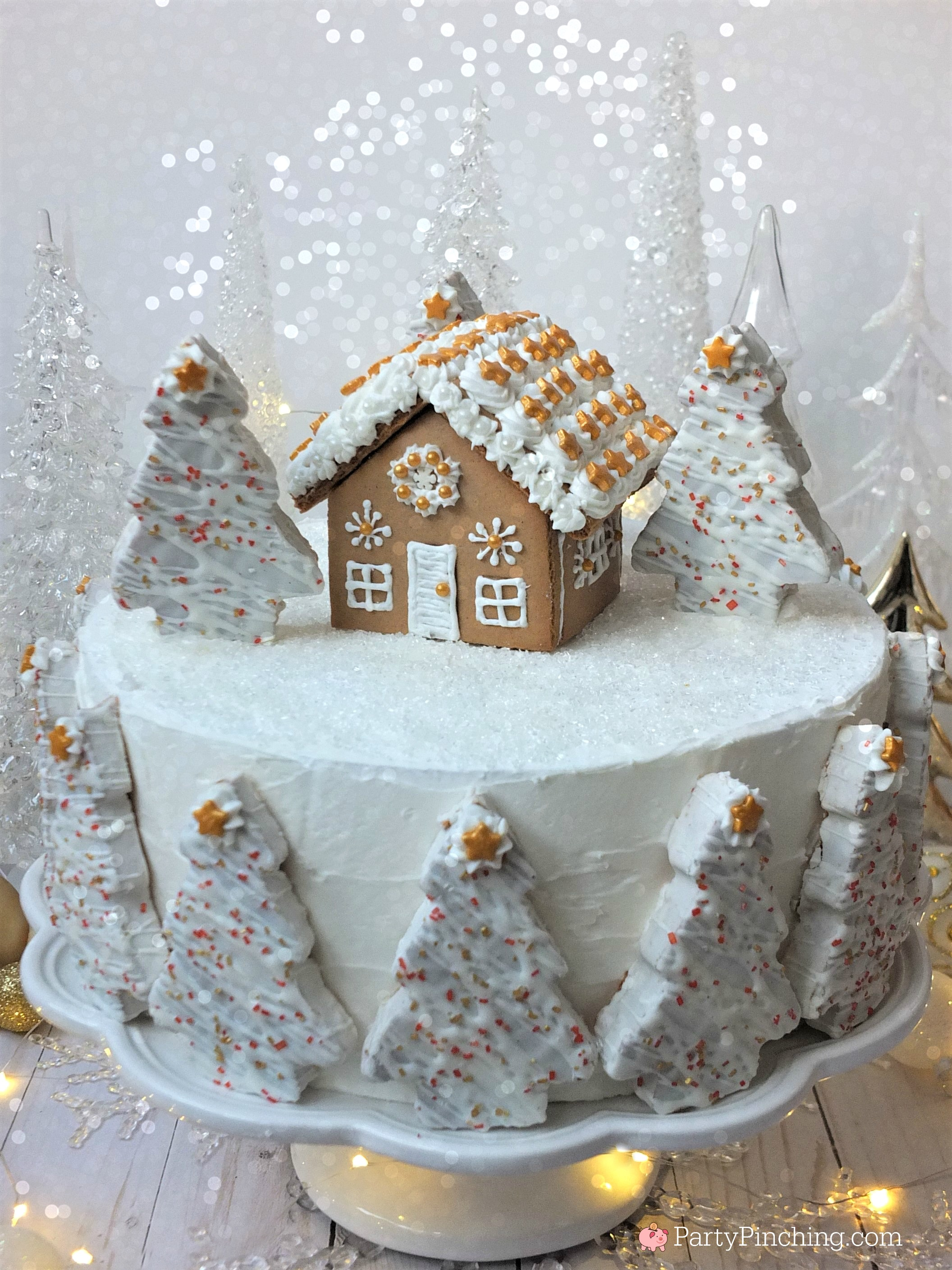 Winter Wonderland Holiday Spice Cake For Christmas Gingerbread House