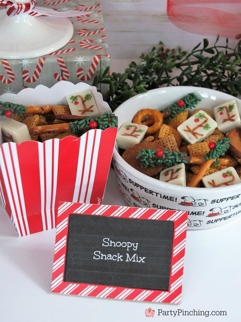 Charlie Brown Christmas movie food snack treats desserts, Christmas movie night Marathon, Snoopy Chex Mix Snack, White Kit Kat Charlie Brown Trees, Mini Charlie Brown Tree branches pretzel sticks, fun Christmas food ideas for kids, sweet treats, party pinching