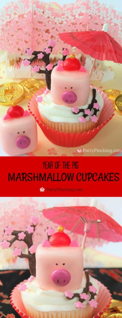 Pig Marshmallow Cupcake, Pig Marshmallows, Chinese Lunar New Year of the Pig, Best Chinese Lunar New Year food party ideas, Pig Marshmallow recipe, cute pig marshmallow cake pop recipe, fun food for kids, sweet treats, best cupcake recipe