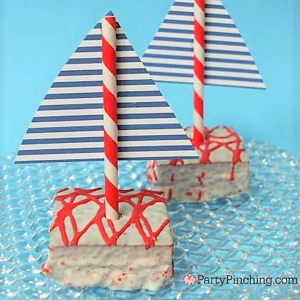 Little Debbie Red Velvet Cakes, Sailboat cake, nautical cake, cute nautical party ideas, summer treats, Party Pinching