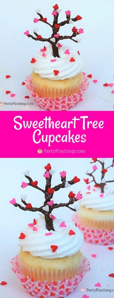 Valentine's Day cupcake, easy Valentine's Day dessert, Valentine tree, heart tree, cute food, sweetheart tree cupcake, best Valentine's day recipes, best Valentine's day ideas
