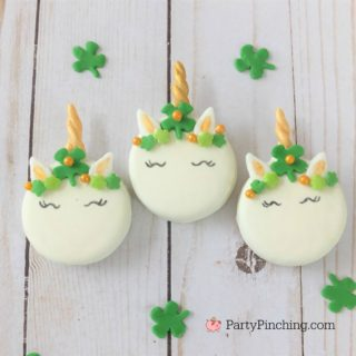 St. Patrick's Day Unicorn Cookie, best St. Patrick's Day food party recipe ideas, Shamrock Unicorn Cookie, St. Patrick's Day Oreo, easy St. Patrick's Day cookie recipe, cute St. Patrick's Day Unicorn Oreo Cookie